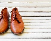 RESERVED FOR ELIZA - Adorable Women's Vintage Brown Leather Flat Ankle Boots