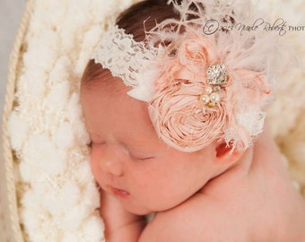 Vintage Baby Pink and Ivory Cream Dupioni Silk Hand Rolled Rosette Headband with Curly Feathers, Lace, Crystals, Veiling and Pearls
