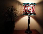Mid Century Lampshade Blue Gold Red Granny Square Crochet Aqua Sparkle Bright Housewares Lighting