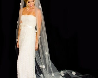 Veil with 30 Silk Organza Flowers with Crystal Centers, Cathedral Length(110 inch) Bridal Veil, White or Ivory Wedding Veil, Made to Order