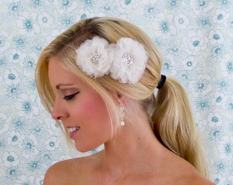 Bridal Hair Flower Duo in Silk Organza, 3 & 2.5 Inch Wedding Hair Clip, White or Ivory, Style 2041, Made to Order
