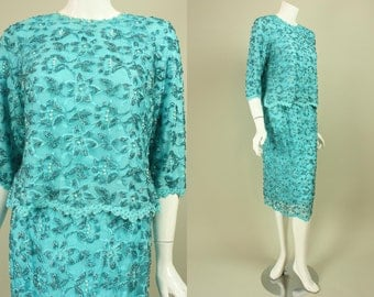 Vintage 1960's BEADED LACE ENSEMBLE Cocktail Party Dress Glass Seed Beads Pearl Accents Blouse Skirt Floral Flowers