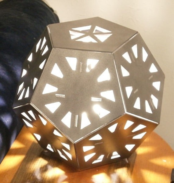 items similar to dodeca table lamp geometric wood sculpture accent lighting on etsy. Black Bedroom Furniture Sets. Home Design Ideas