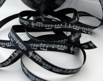 Musical Notes Ribbon, Double Satin 10mm (3/8) width, Black Ribbon