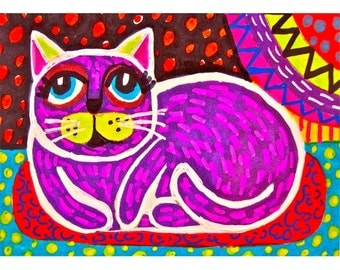 Folk Art Cat Print, Purple, Kids Wall Art, Girls Room Decor, Art For Children, Whimsical Art, Purple Folk Art Cat  by Paula DiLeo