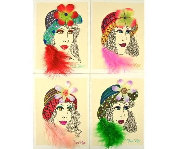 Lady In The Hat Cards, Blank Note Cards, Hand Made Notes, Unique Greeting Cards 4 5/8 x 6 1/4 by Paula DiLeo