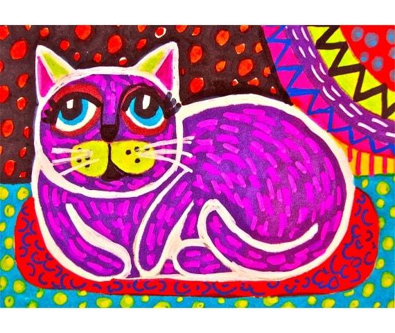 Children S Party Box Wall Art For Girl S Bedroom: Purple Cat Print Kids Bedroom Wall Decor Girls Room Decor