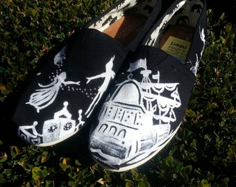 Peter Pan Toms - White Paint- Disney Toms, Custom Toms, Disney Vacation Shoes, Hand painted Toms, Tinkerbell, Captain Hook, Wendy, Neverland