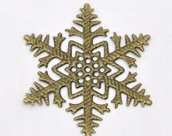 8pc antique bronze 45mm metal filigree center piece/wraps-5604