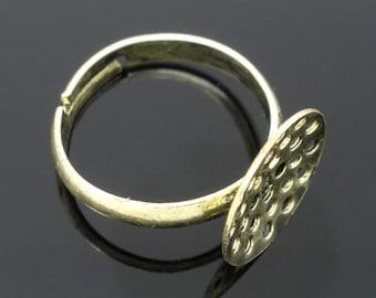 4pc antique bronze lead nickel free adjustable  ring shanks-5659
