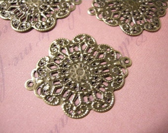 12pc antique bronze 37x29mm metal filigree center piece/wraps-5757