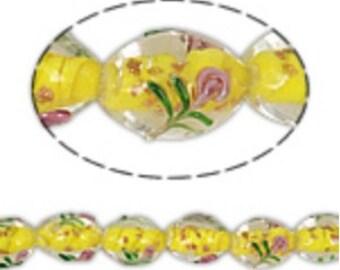 6pcs 16x11mm  yellow lampwork glass beads-6086