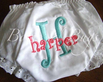 Monogrammed Diaper Cover Bloomers for Girls - PERSONALIZED Custom