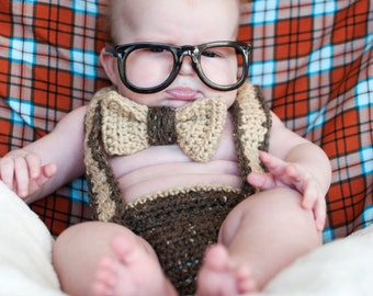 Instant Download Nerd Baby Suspenders and Bowtie Diaper Cover Crochet PATTERN