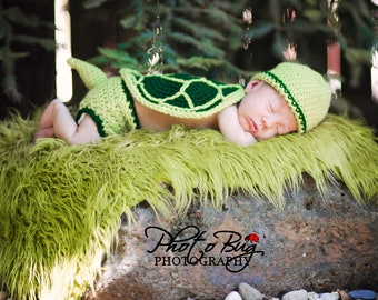 Instant Download Turtle Hat, Diaper Cover, Tail, and Shell Crochet Pattern