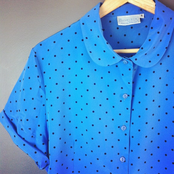 1940s style Powder Blue Vintage Polka Dot Blouse with Peter Pan Collar size M