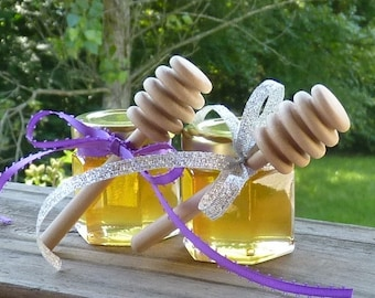 Wedding Favors, 12 Raw Wildflower Honey 2oz Jars, Raw Honey, Medicinal, Tennessee Wildflower Wood Dippers