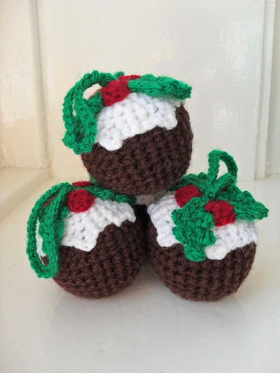 Items Similar To Four Crochet Christmas Pudding Tree