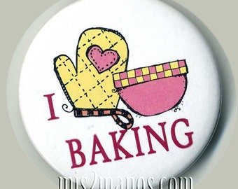 I Love Baking Buttons Personalized Buttons Custom Buttons and Pins