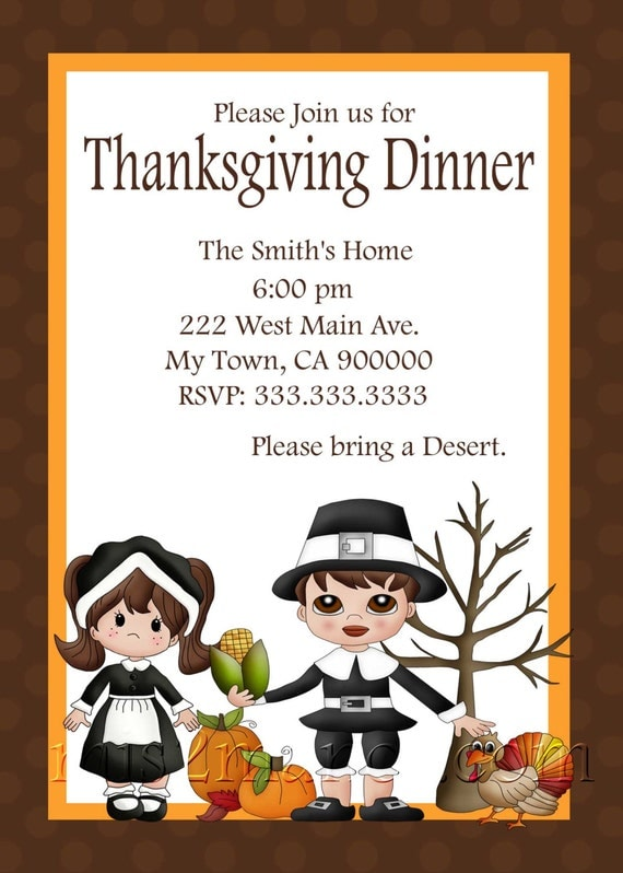 Thanksgiving Dinner Invitation Diy Printable Party Invites