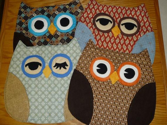 Set of 4 unique Owl Placemats