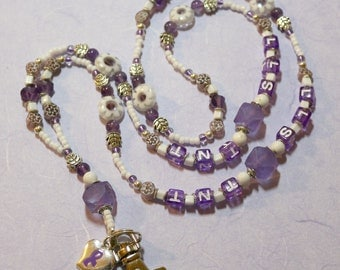 O O A K - Lampwork Glass Beaded Lanyard ID Badge Holder - PURPLEWHITES - AW132