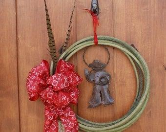 Christmas  Wreath Cowboy Lasso Pheasant Feather Bandana Ribbon