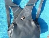 PALOMA PICASSO back bag in black leather made in Italy circa 1980's free shipping