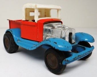 Vintage toy truck, metal toy truck, rat rod, hot rod truck, made in Japan