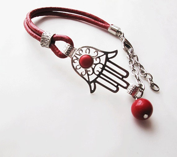 Hamsa - Hand of Fatima Bracelet-red leather cord