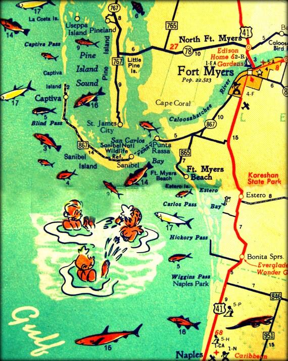 Map Photograph VINTAGE VACATION Retro Florida Beach Photo - Map of florida beaches