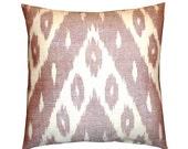Shiny Dusty Pink Handwoven Uzbek Ikat Pillow Cover (18'' x 18'')