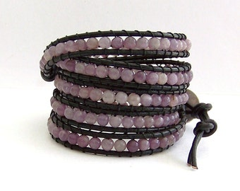 Purple Leather Wrap Bracelet - Lilac Lavender Stones, Black Leather