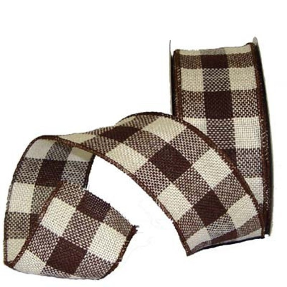 """2.5"""" Faux Burlap Wired Ribbon Chocolate and Cream Check (5 yards)"""