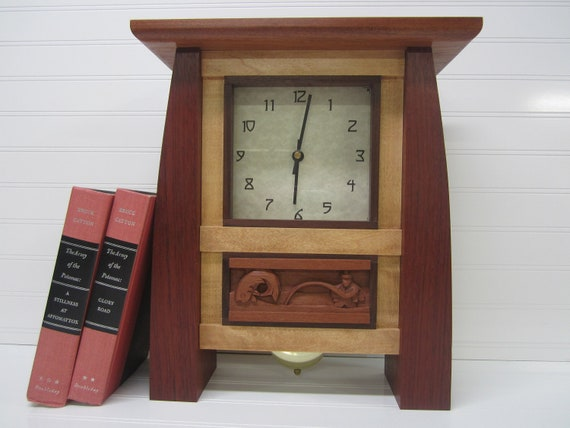 On sale 40 off large mantel clock bungalow clock by for Arts and crafts clocks for sale