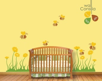 Baby Nursery Wall Decal - Bees and Flowers Wall Decal - Wall Decals - Nursery Wall Sticker - K010