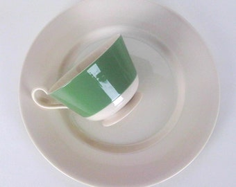 Pretty Garden Cafe Styled Green Banded Vintage High Tea Brunch Luncheon Set, 6 Place Settings, Trending Vintage