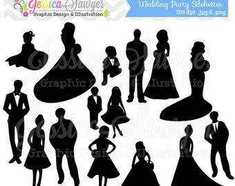 INSTANT DOWNLOAD, wedding party clipart, silhouette clipart,  for greeting cards, announcements, scrapbooking