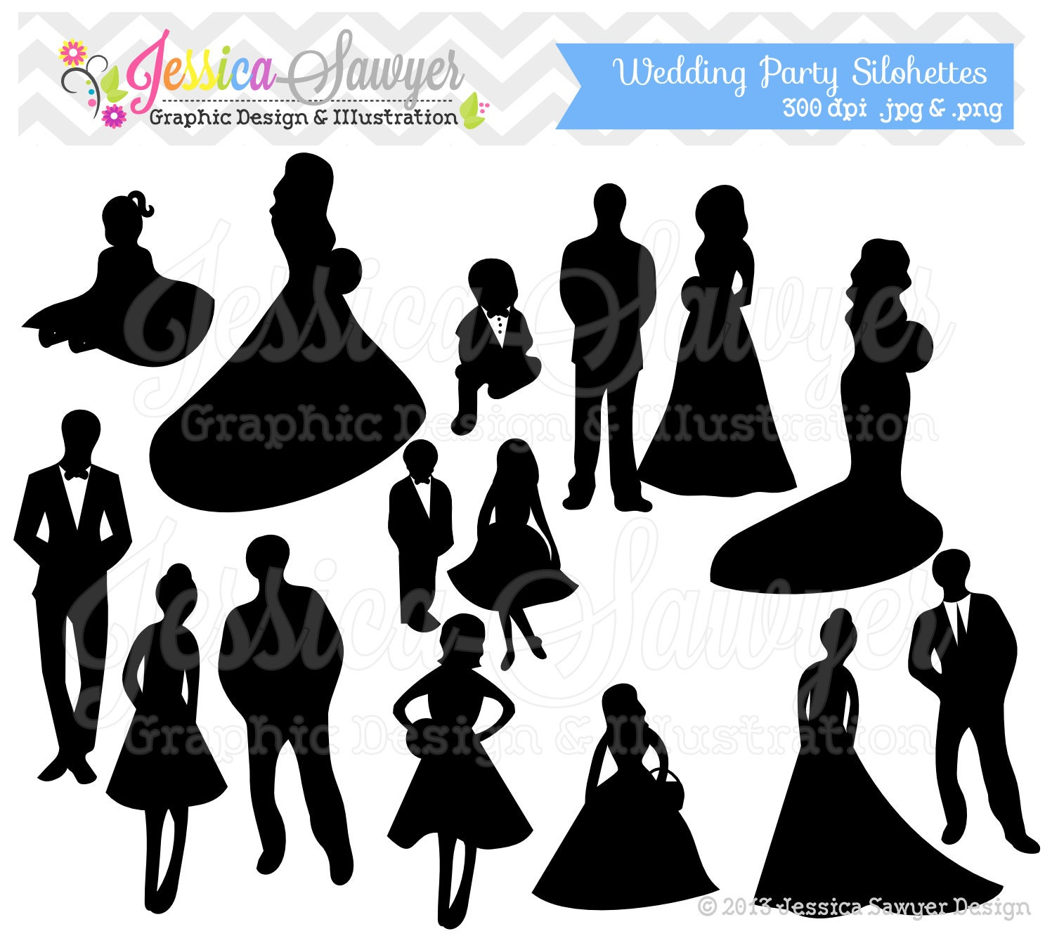 INSTANT DOWNLOAD wedding party clipart silhouette clipart