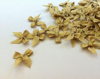 100 PCS of Gold Ribbon Bow Applique Embellishments