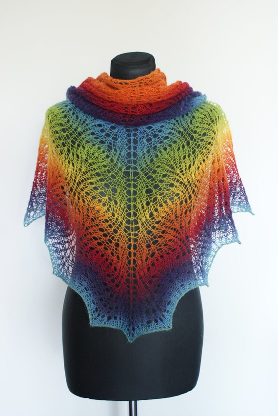Rainbow Shawlette Shawl Scarf Hand Knitted Triangular Estonian Wool Lace Shawl Colorfull Kauni. READY TO SHIP.