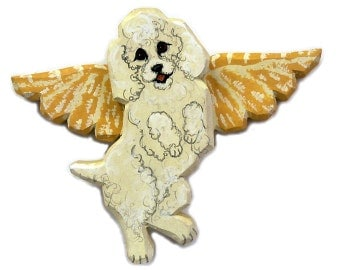 Angel Dog White Poodle Dog Angel Wooden Wall Hanging