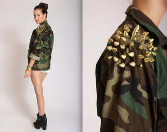 Unisex gold cone studded army jacket Small