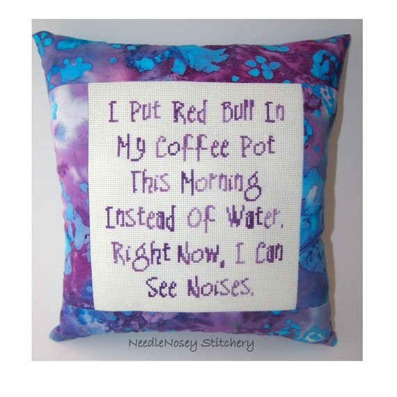 Funny Cross Stitch Pillow, Purple Pillow, Coffee and Red Bull Quote