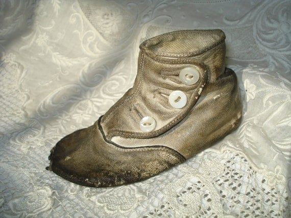 Reserved for Kathy     Antique Tattered Single Baby Shoe