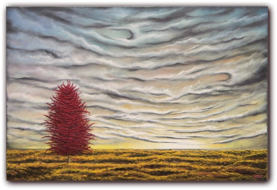 Original Contemporary Landscape Painting, Surreal Autumn Red Tree Painting, Abstract Tree Art Oil Painting, 24 x 36, LARGE Painting