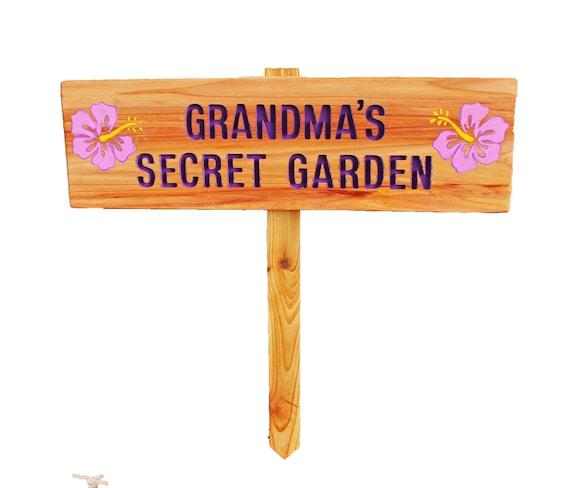 items similar to grandma 39 s secret garden garden sign hibiscus flowers pink and purple custom