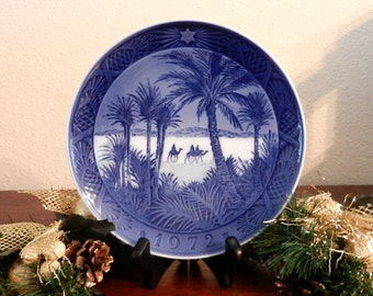 Vintage Blue and White Collectible Plate - In The Desert Collectible Plate - Vintage Royal Copenhagen Plate -  In the Desert 1972