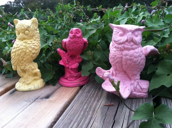 Cheerful Kitschy Vintage Owls / Upcycled Whimsical Birds / Pink and Yellow Owl Collection