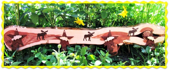 Coat Rack Montana Made Country Rustic Red Cedar Moose Rusty Stars Fish Lodge Forest Woods FTTeam